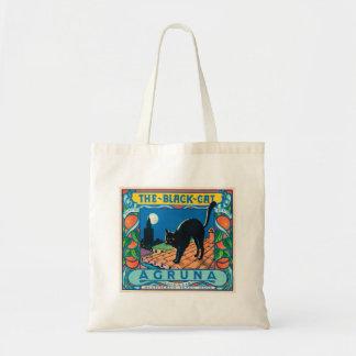 La etiqueta anaranjada del vintage del gato negro bolsa tela barata