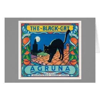 La etiqueta anaranjada del vintage del gato negro tarjeta de felicitación