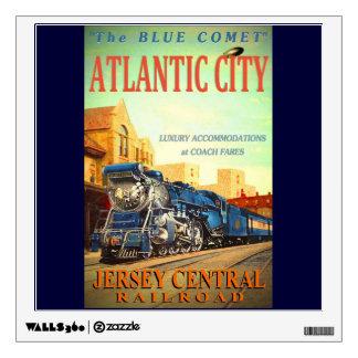 La etiqueta azul de la pared del tren del cometa vinilo adhesivo