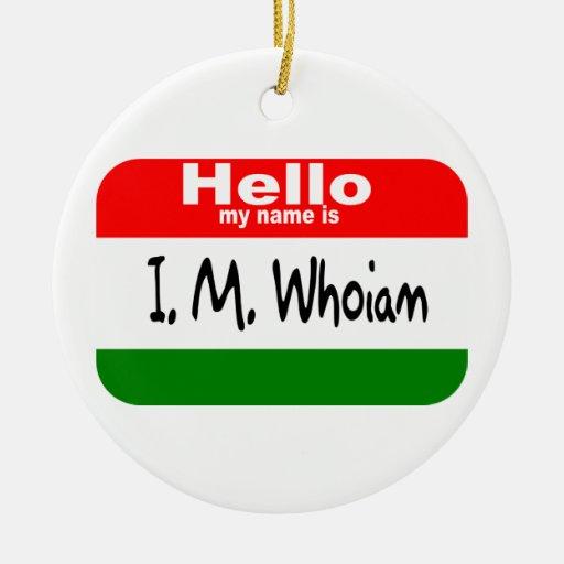 La etiqueta conocida de dios (colores del navidad) adorno navideño redondo de cerámica