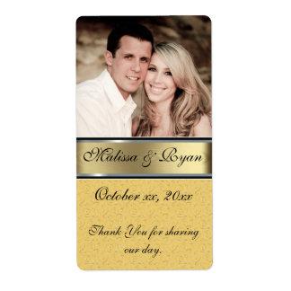La etiqueta de encargo del vino del oro del boda etiquetas de envío