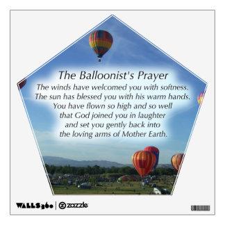La etiqueta de la pared del rezo del Balloonist Vinilo Adhesivo