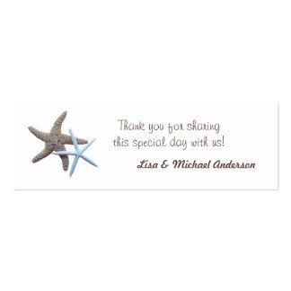 La etiqueta del favor de las estrellas de mar le tarjetas de visita mini