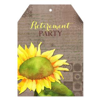 La etiqueta del fiesta de retiro de los girasoles anuncios personalizados