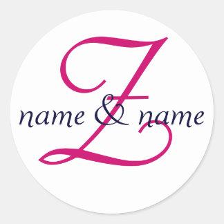 """La etiqueta del monograma de """"Z"""", personaliza los"""