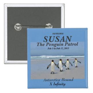 La etiqueta del nombre de la patrulla del pingüino pin cuadrado