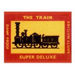 La etiqueta del partido del vintage del tren tarjetas postales
