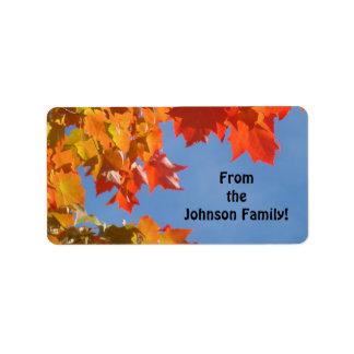 La etiqueta del regalo etiqueta acción de gracias  etiquetas de dirección