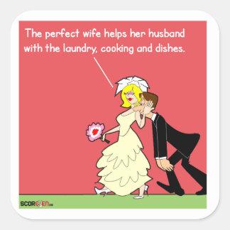 La etiqueta engomada perfecta de la esposa