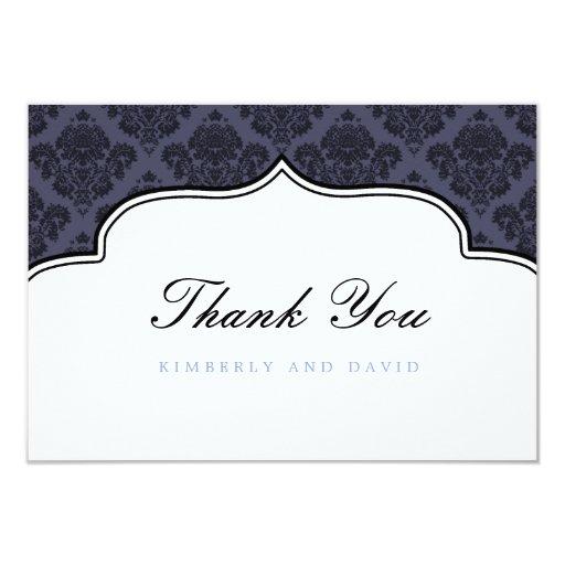"""La etiqueta negra y azul del damasco le agradece invitación 3.5"""" x 5"""""""