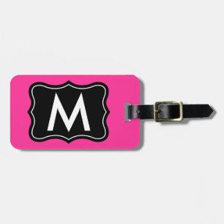 La etiqueta rosada y negra el | del equipaje perso etiqueta de maleta