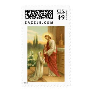 La eucaristía en todo el franqueo de las cosas timbre postal