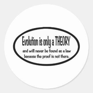 La evolución es solamente una teoría pegatinas redondas