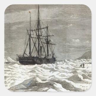 La expedición de Polo Norte Pegatinas Cuadradas Personalizadas