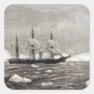 La expedición de Polo Norte Calcomanías Cuadradass