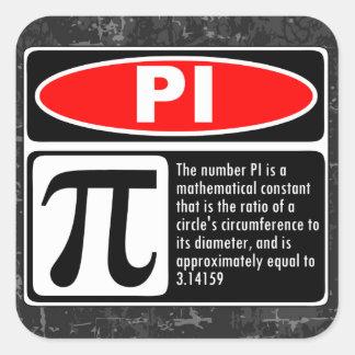 La explicación del pi pegatina cuadrada