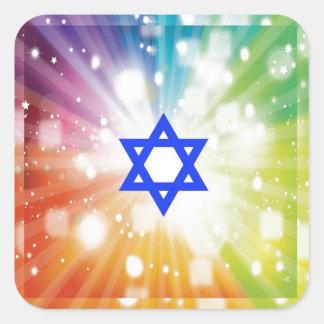 La explosión judía de luces pegatina cuadrada