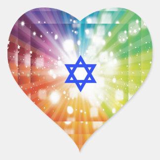 La explosión judía de luces pegatina en forma de corazón