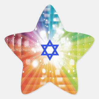 La explosión judía de luces pegatina en forma de estrella