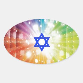 La explosión judía de luces pegatina ovalada