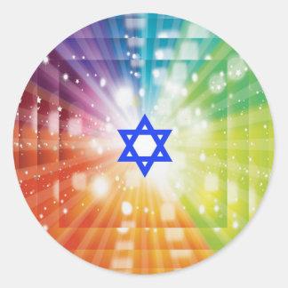 La explosión judía de luces pegatina redonda