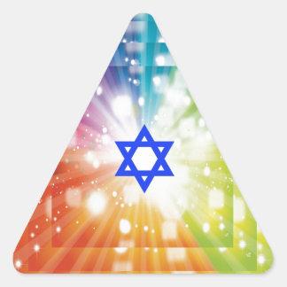 La explosión judía de luces pegatina triangular