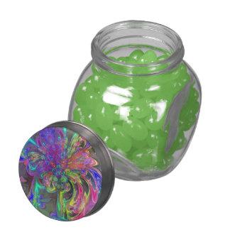 La explosión que brilla intensamente del color, re frascos de cristal jelly belly