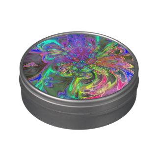 La explosión que brilla intensamente del color, re frascos de dulces