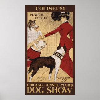 La exposición canina 1902 del club de la perrera d póster