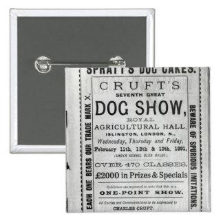 La exposición canina de Cruft de la publicidad de  Pin Cuadrada 5 Cm
