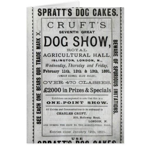 La exposición canina de Cruft de la publicidad de  Tarjetas