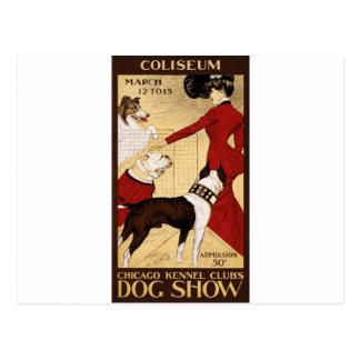 La exposición canina del club de la perrera de tarjetas postales