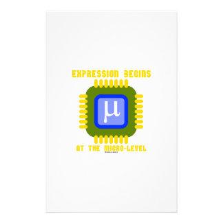 La expresión comienza en el microproceso llano  papeleria de diseño