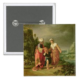 La expulsión de Hagar, 1612 Pin Cuadrada 5 Cm