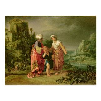 La expulsión de Hagar, 1612 Tarjeta Postal