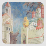 La expulsión de los diablos de Arezzo, 1297-99 Calcomanías Cuadradases