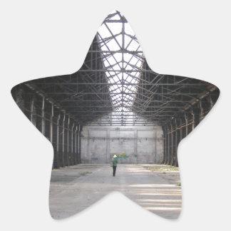 La fábrica abandonada arruina arqueología pegatina en forma de estrella