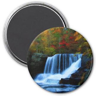 La fábrica colorida cae en la pintura del otoño imán redondo 7 cm