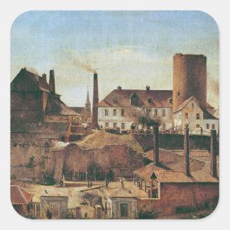 La fábrica de Harkort en el Burg más mojado, Pegatina Cuadrada