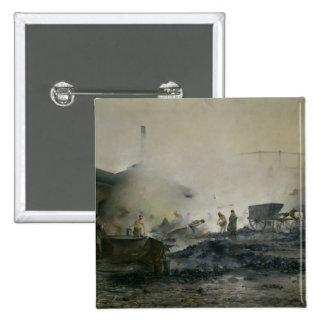 La fábrica del gas en Courcelles, 1884 Pin Cuadrada 5 Cm