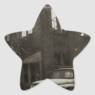 La fábrica vieja pegatina en forma de estrella