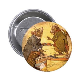 La fábula de Esopo del vintage, ratón del país, Pin Redondo De 2 Pulgadas