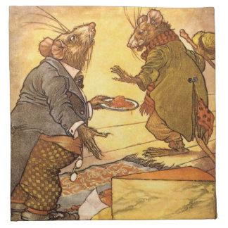 La fábula de Esopo del vintage, ratón del país, Servilletas De Papel