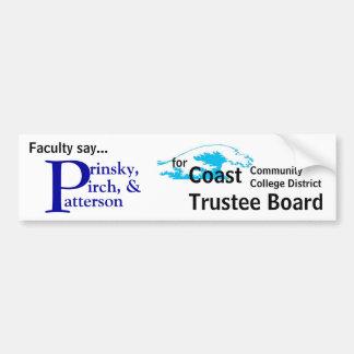 La facultad dice Prinsky Pirch Patterson Etiqueta De Parachoque
