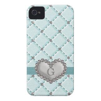 La falsa aguamarina acolchó el corazón Blackberry iPhone 4 Case-Mate Carcasa