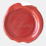 La falsa cera sella - escritura roja - amor etiquetas redondas