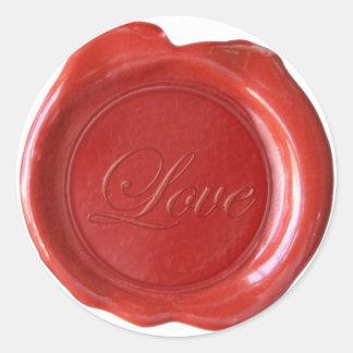 La falsa cera sella - escritura roja - amor etiquetas