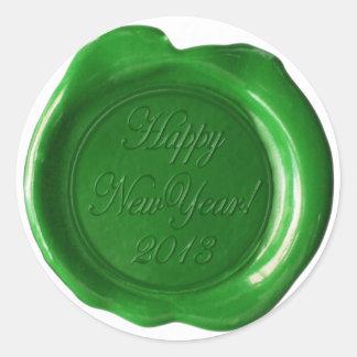 La falsa cera sella - escritura verde - pegatina redonda