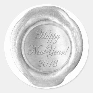La falsa cera sella - la escritura de plata - pegatina redonda
