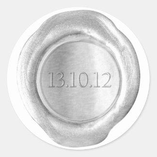 La falsa cera sella - plata - el personalizado - l pegatina redonda
